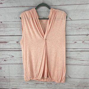*3/$18*Studio M Women's Peach Front Knot Blouse